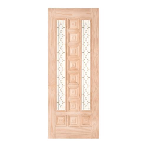 WINDOOR  ประตูไม้สนNz ลูกฟักพร้อมกระจก ขนาด 100x230ซม. BARCELONA