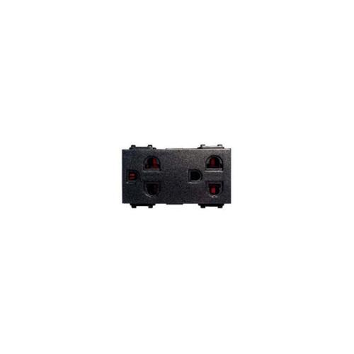 CHANG เต้ารับคู่เสียบขากลมแบน มีกราวด์ PCH-904C-BK สีดำ(เม็ททัลลิค)-ช้าง PCH-904C-BK Y-Series Metallic สีดำ