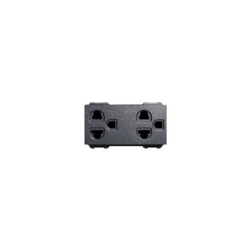 CHANG เต้ารับคู่เสียบขากลมแบน มีกราวด์ มีม่านนิรภัย PCH-904SC-BK สีดำ(เม็ททัลลิค)-ช้าง PCH-904SC-BK Y-Series Metallic สีดำ