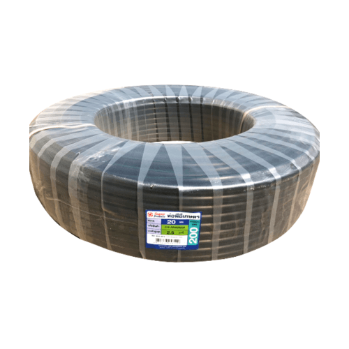 "Super Products ท่อ LDPE แรงดัน2.5  ขนาด 25 มม.200 ม.คาดเขียว(3/4"")"