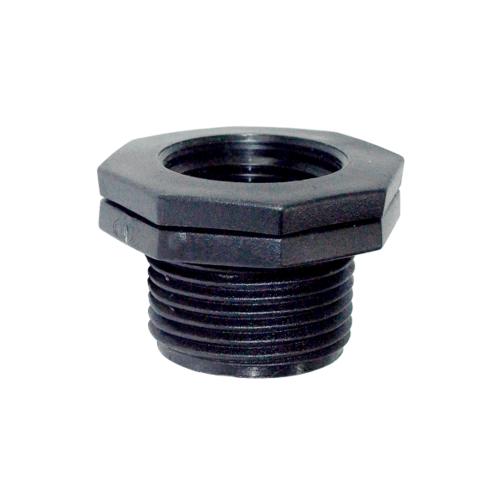 Super Products ข้อลดเหลี่ยมเกลียวนอก - ใน 1 นิ้ว x 1/2 นิ้ว (2 ตัว / แพ็ค) RMF ดำ