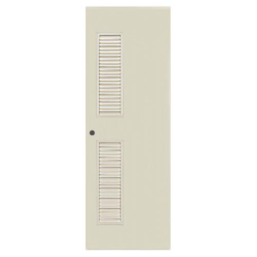 BATHIC  ประตูพีวีซี เกล็ดข้างบนล่าง ขนาด 70x200ซม. (เจาะ) BC6 สีครีม