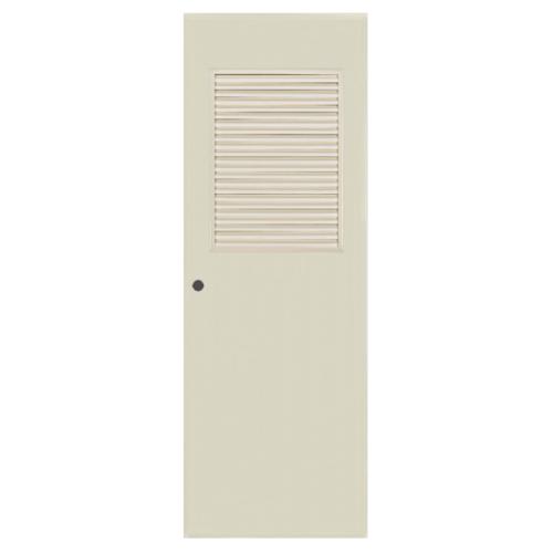 BATHIC ประตูพีวีซี เกล็ดครึ่งบานบนขนาด  80x197ซม. (เจาะ) ฺBC3 สีครีม
