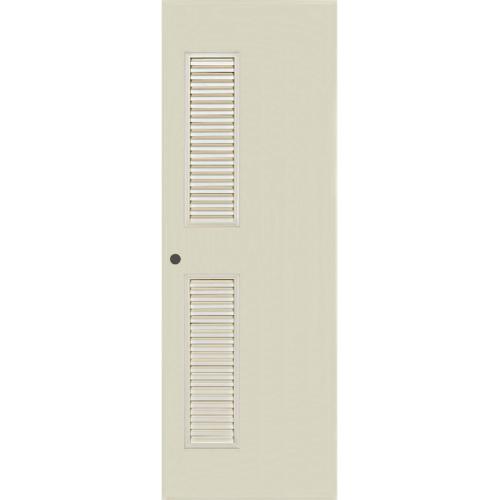 BATHIC ประตู PVC  เกล็ดข้างตลอด ขนาด 80cm.x200cm.  เจาะ  BC6 สีครีม