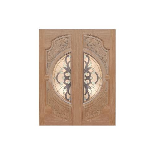 MAZTERDOOR ประตูไม้สยาแดง แกะลายหงษ์-มังกร พร้อมกระจก  ขนาด 80x200ซม.  VANDA-03