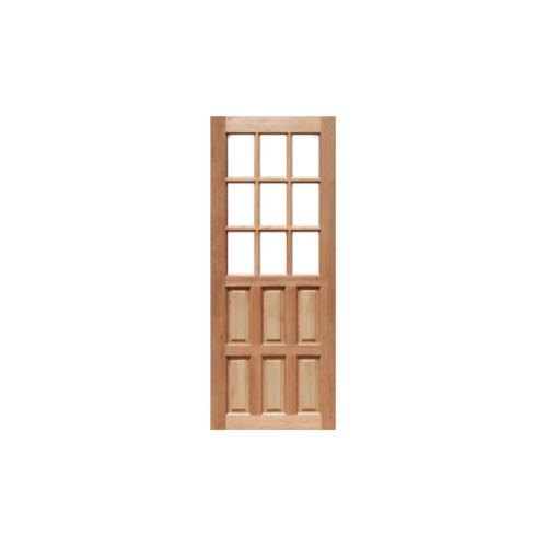 MAZTERDOOR ประตูไม้สยาแดง ลูกฟักพร้อมช่องกระจก ขนาด 90x200ซม.  MD-03/1