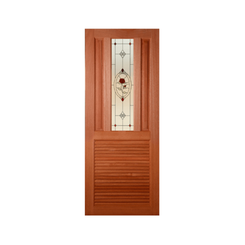 MAZTERDOOR ประตูกระจกไม้สยาแดง  ขนาด 70X200cm SS01/3(เกล็ดล่าง)