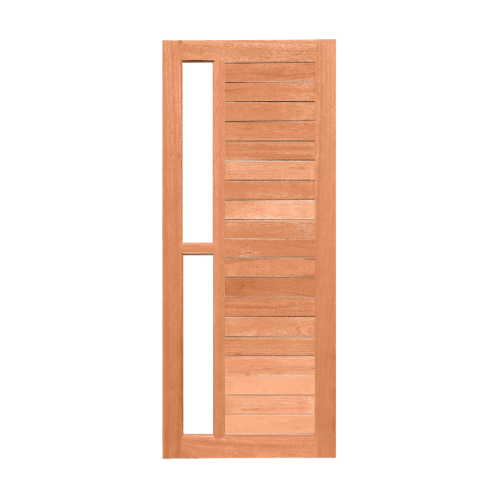 MAZTERDOOR  ประตูไม้สยาแดง ทำร่องพร้อมช่องกระจก100x200ซม.  MD-59-07