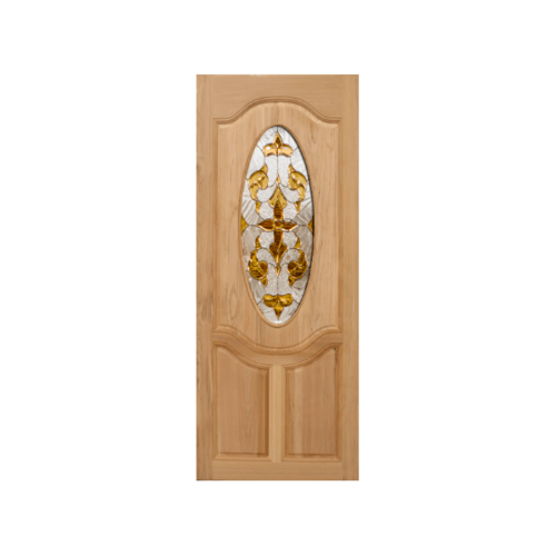 MAZTERDOOR  ประตูไม้สยาแดง ลูกฟักพร้อมกระจก  ขนาด 90x200ซม. ORCHID-10