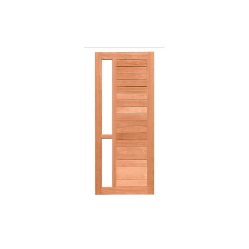 MAZTERDOOR  ประตูไม้สยาแดง ทำร่องพร้อมกระจก 1ช่อง  ขนาด 80x230ซม.
