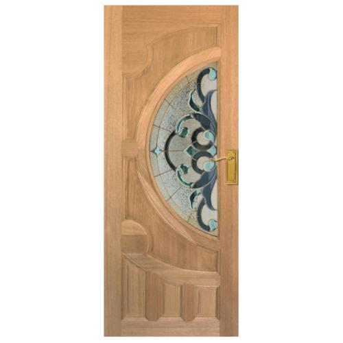 MAZTERDOOR ประตูไม้เนื้อแข็ง ลูกฟักพร้อมกระจกขนาด  80x200ซม. (ทำสี S03 สีธรรมชาติ) Vanda-03