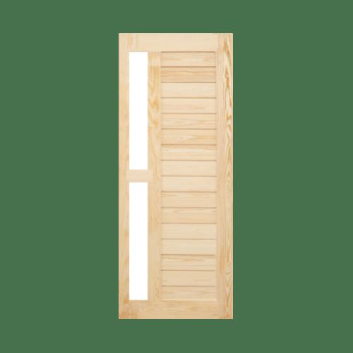 MAZTERDOOR ประตูกระจกไม้สนขนาด  100x200cm.  MD60/5  ไม้ธรรมชาติ