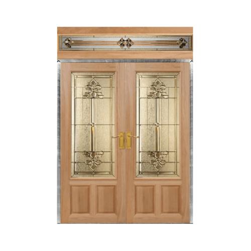 Masterdoors ประตูไม้สยาแดง ลูกฟักพร้อมกระจก SET 2 ขนาด 165x245cm.  Lotus-08
