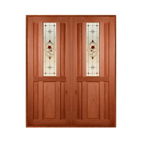 MAZTERDOOR ประตูไม้สยาแดง ลูกฟักพร้อมกระจก SET 1  ขนาด 80x200cm.  SS01/3