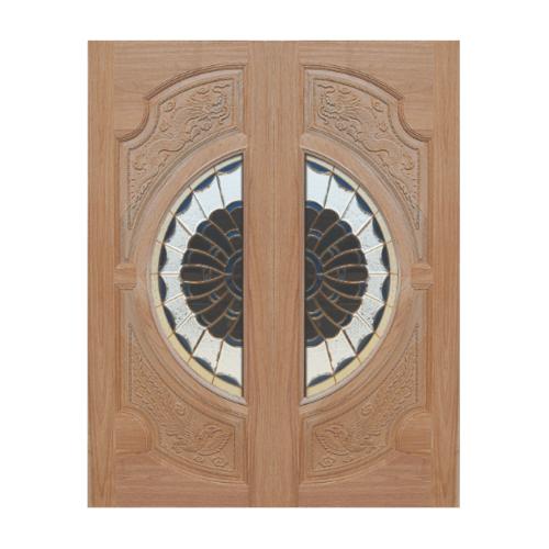MAZTERDOOR ประตูกระจกไม้สยาแดง  (ลายหงษ์-มังกร) ขนาด 90x200cm (ทำสี) VANDA-09