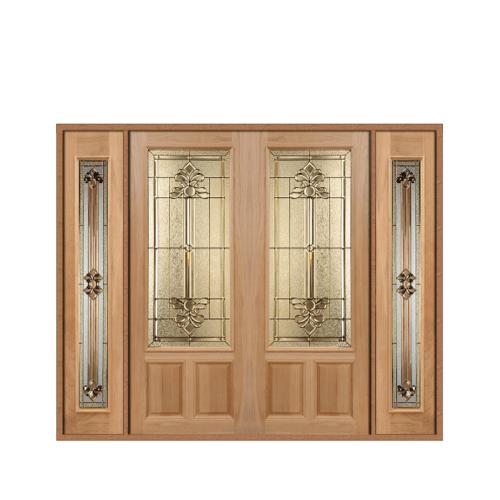 MAZTERDOOR เชท 3 ประตูไม้สยาแดง  ขนาด 260x200 cm. LOTUS-08