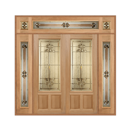 MAZTERDOOR เชท 4 ประตูกระจกไม้นาตาเซีย    ขนาด 240x265 cm. LOTUS-08