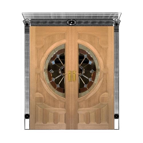 MAZTERDOOR ประตูกระจกสยาแดง ขนาด 90x200cm.สี โอ๊ค  VANDA-04