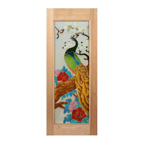 MAZTERDOOR ประตูกระจกสยาแดง  ขนาด 80x200 cm.ทำสี ART-03