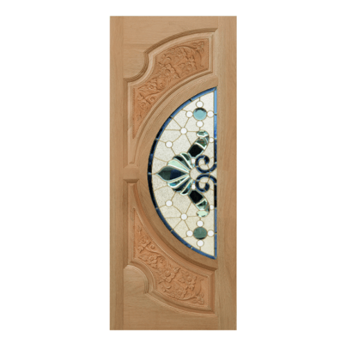 MAZTERDOOR ประตูกระจกไม้สยาแดง (ดอกไม้-L) ขนาด 80x200 cm.    VANDA-08