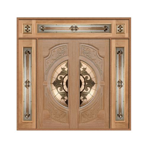 MAZTERDOOR SET4 ประตูกระจกไม้สยาแดง (หงษ์+มังกร) 200x245 cm.(นอกแบบ) VANDA-01