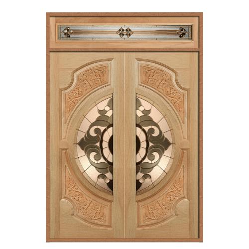 MAZTERDOOR SET 2 ประตูกระจกไม้สยาแดง  (ดอกไม้L) 160X200 cm. VANDA-01