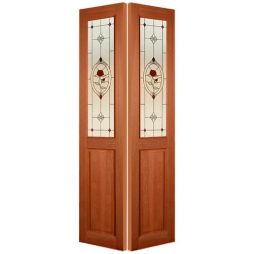 MAZTERDOOR ประตูกระจกไม้สยาแดง 50X200 cm.  SL-01/3