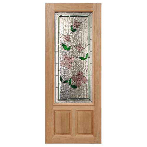 MAZTERDOOR ประตูกระจกไม้สยาแดง  90X200 cm. LOTUS-09