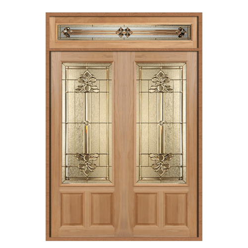 MAZTERDOOR SET 2 ประตูไม้สยาแดง  180X240 cm. LOTUS-08