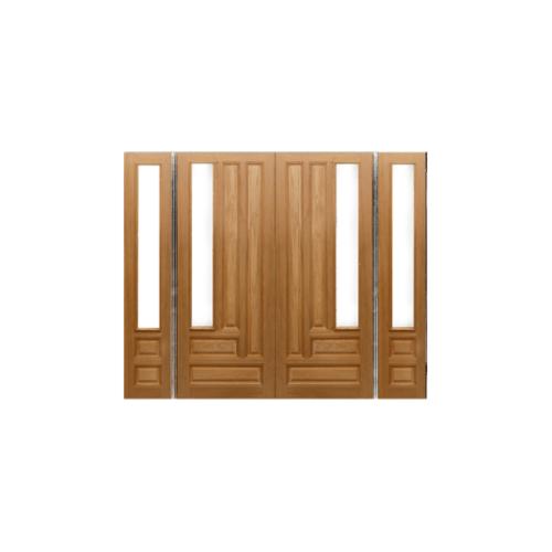 MAZTERDOOR SET 4 ประตูไม้สยาแดง (กระจกใส) 240X245 cm.  JASMINE