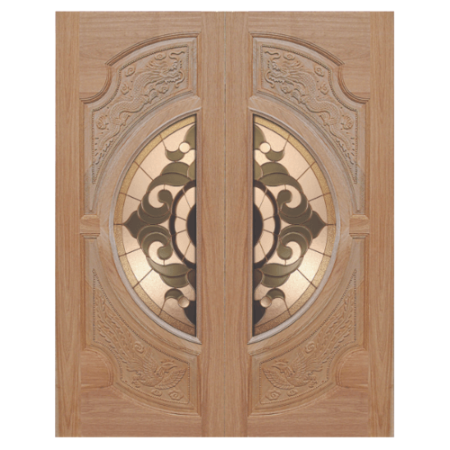 MAZTERDOOR ประตูกระจกสยาแดง (หงษ์+มังกร) 80X200 cm.(ทำสี)  VANDA-01