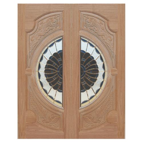 MAZTERDOOR SET 1 ประตูไม้สยาแดง หงษ์-มังกร160x200 cm..  VANDA-09