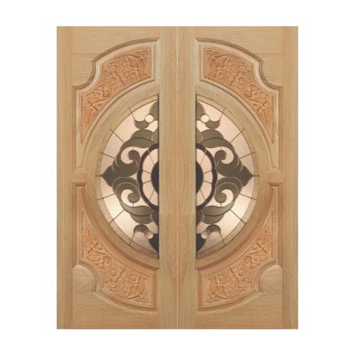 MAZTERDOOR SET 1 ประตูไม้สยาแดง(ดอกไม้-L) 200x200 cm.  VANDA-01
