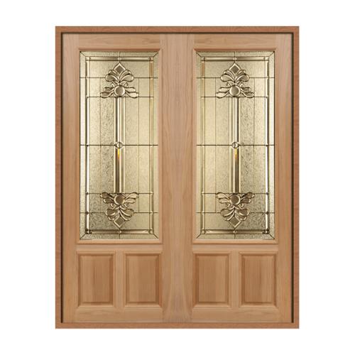 MAZTERDOOR SET 1 ประตูกระจกไม้สยาแดง 180x220 cm.(ทำสี)  LOTUS-08