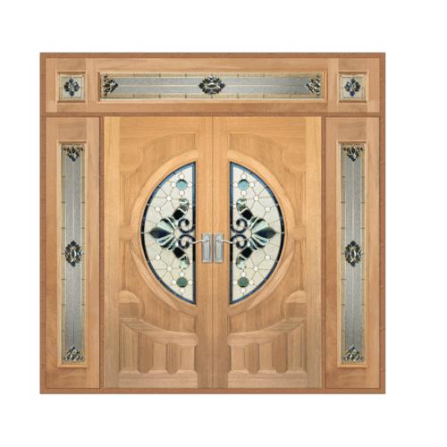 MAZTERDOOR SET 4 ประตูกระจกไม้สยาแดง(ดอกไม้-L)265x245 cm.  VANDA-08