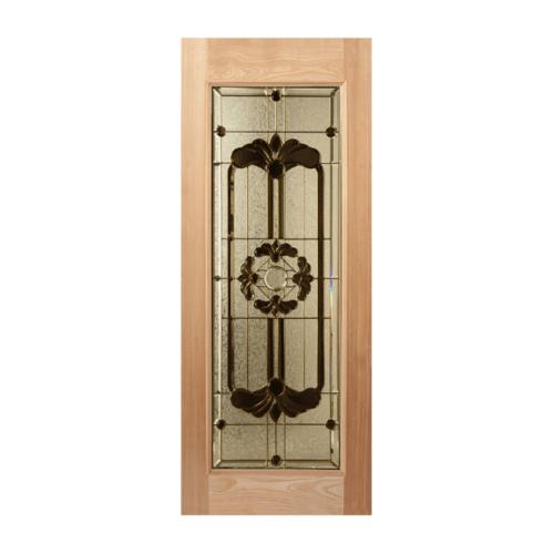 MAZTERDOOR ประตูกระจกไม้สยาแดง 80x200 cm.  LOTUS-06