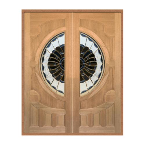 MAZTERDOOR ประตูไม้สยาแดงกระจกหงษ์+มังกร 196x217cm. SET1 VANDA-09