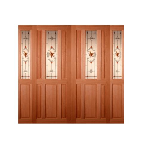 MAZTERDOOR ประตูไม้สยาแดงกระจก  240x200cm. SET3 SS01/2