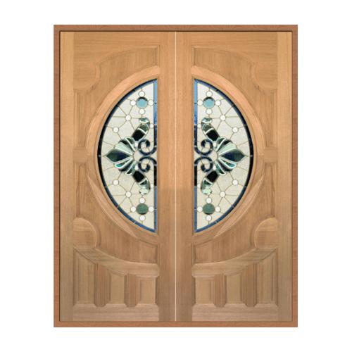MAZTERDOOR ประตูไม้สยาแดงกระจกดอกไม้ ขนาด 87.5x218cm.  VANDA-08