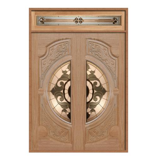 MAZTERDOOR ประตูไม้สยาแดงกระจกหงษ์+มังกร SET 2ขนาด 160X240cm.  VANDA-01