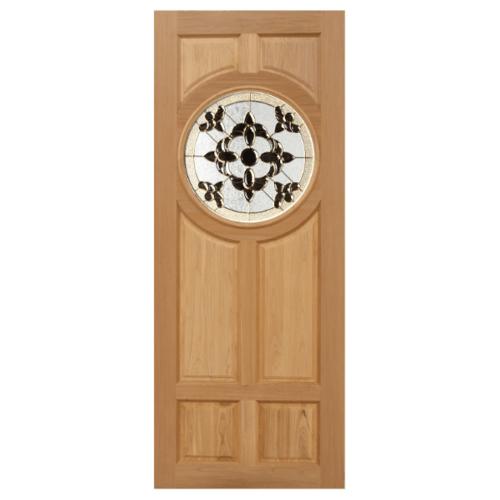 MAZTERDOOR ประตูไม้จาปาร์การ์กระจก 80X200cm.  Daisy-01
