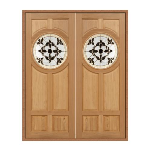 MAZTERDOOR ประตูไม้สยาแดงกระจก ขนาด 100X200cm.  Dasiy-01