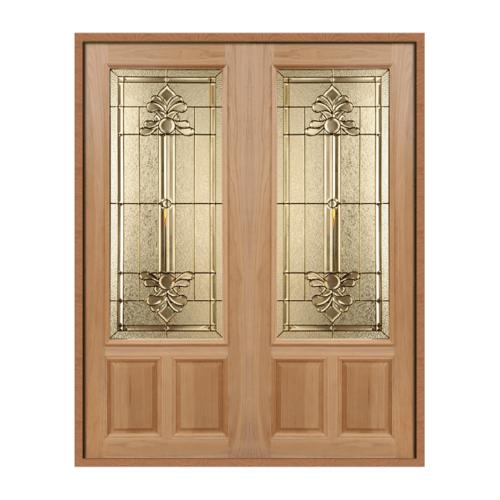 MAZTERDOOR ประตูไม้สยาแดงกระจก SET 1 ขนาด 160X200cm.ทำสี LOTUS-08