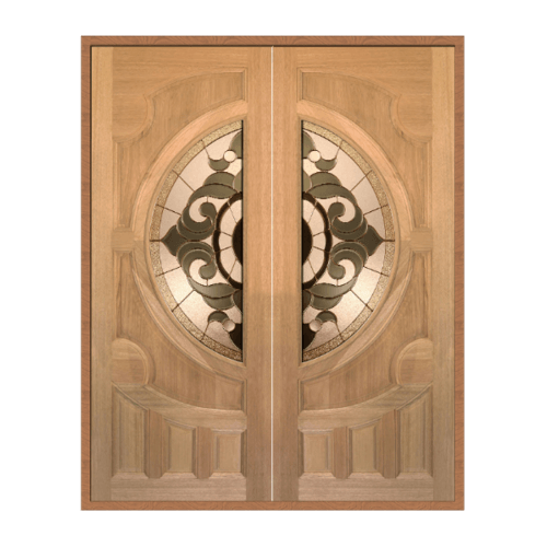 MAZTERDOOR ประตูไม้สยาแดงกระจกSET1 ขนาด 160x200cm.ทำสี  VANDA-01