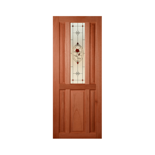 MAZTERDOOR ประตูกระจกไม้สยาแดง 80x200cm.  SS1/3