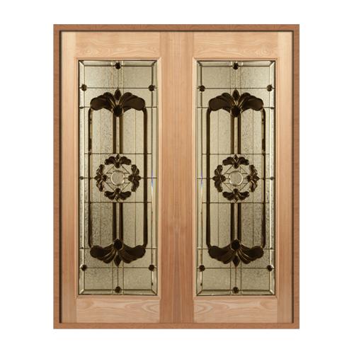 MAZTERDOOR ประตูไม้สยาแดง บานเรียบพร้อมกระจก SET 1 ขนาด 160x200cm.  LOTUS-06
