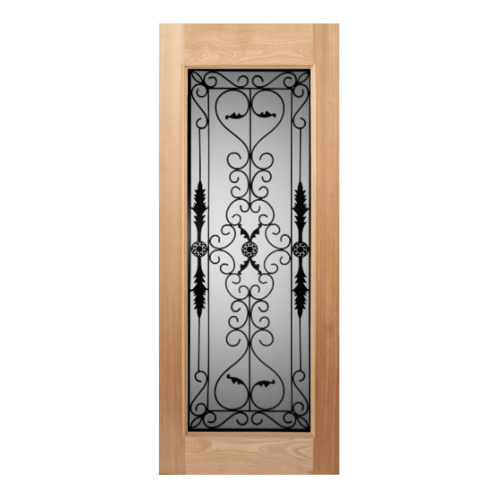 MAZTERDOOR ประตูไม้สยาแดง เหล็กดัดพร้อมกระจก SET 1 ขนาด 100x220cm.  STMD-001