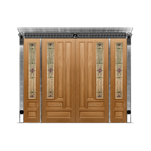 MAZTERDOOR ประตูบานเลื่อนไม้สยาแดง ลูกฟักพร้อมกระจก (SET)ขนาด 180x240cm.   JASMINE-04A
