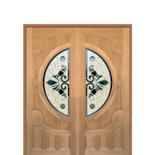 MAZTERDOOR ประตูไม้สยาแดง แกะลายหงษ์+มังกร พร้อมกระจก ขนาด  100x200cm.   VANDA-08