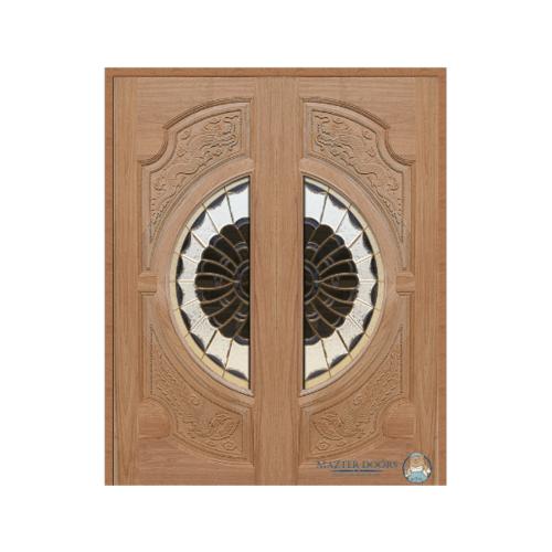 MAZTERDOOR ประตูไม้สยาแดง แกะลายหงษ์+มังกร พร้อมกระจก ขนาด 100x200cm.   VANDA-09